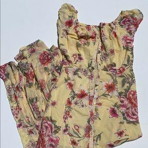 Billabong maxi floral button up dress S